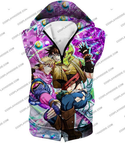 Image of Jojos Battle Tendency C Joseph Joestar And Caesar Zeppeli Anime T-Shirt Jo026 Hooded Tank Top / Us