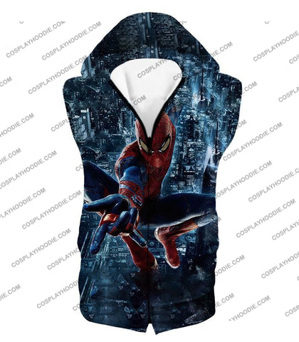 Image of Marvel Hero Web Shooting Spiderman Awesome Action T-Shirt Sp026 Hooded Tank Top / Us Xxs (Asian Xs)