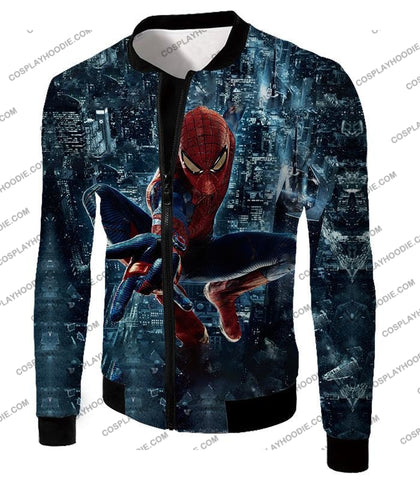 Image of Marvel Hero Web Shooting Spiderman Awesome Action T-Shirt Sp026 Jacket / Us Xxs (Asian Xs)