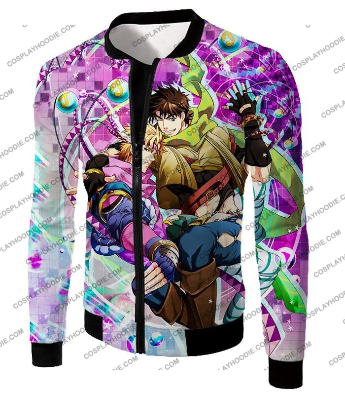 Jojos Battle Tendency C Joseph Joestar And Caesar Zeppeli Anime T-Shirt Jo026 Jacket / Us Xxs (Asian