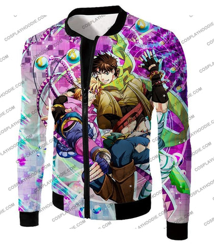 Image of Jojos Battle Tendency C Joseph Joestar And Caesar Zeppeli Anime T-Shirt Jo026 Jacket / Us Xxs (Asian