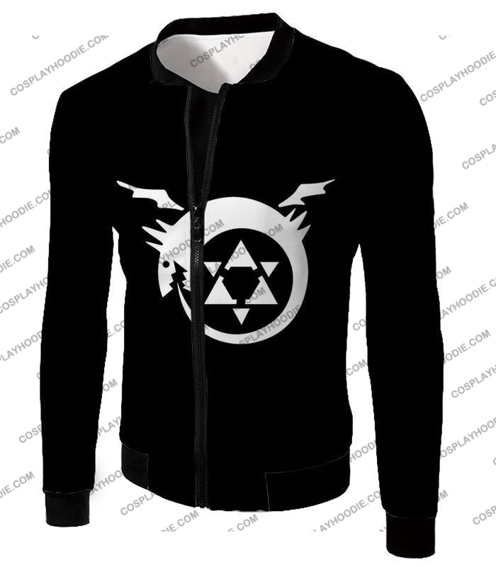 Fullmetal Alchemist Super Cool Homunculi Symbol Awesome Black T-Shirt Fa026 Jacket / Us Xxs (Asian