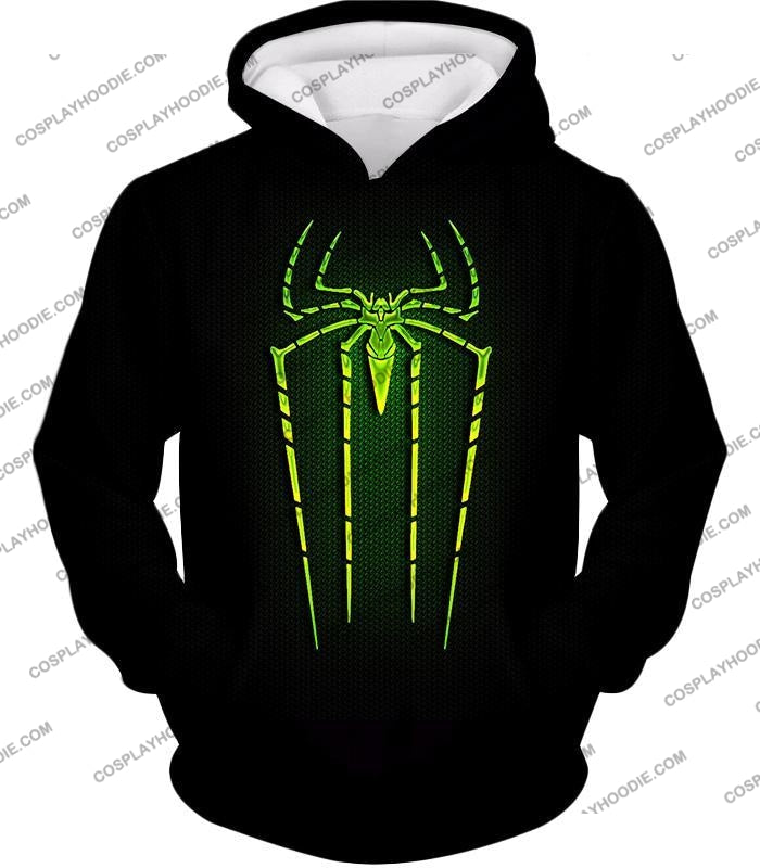 Cool Green Spiderman Logo Promo Black T-Shirt Sp027 Hoodie / Us Xxs (Asian Xs)
