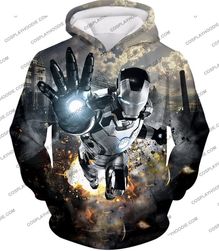 Super Cool Black And White Iron Man Action T-Shirt Im027 Hoodie / Us Xxs (Asian Xs)