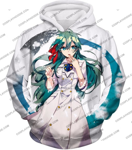 Image of My Hero Academia Cute Blue Haired Anime Girl Super Cool White T-Shirt Mha077 Hoodie / Us Xxs (Asian
