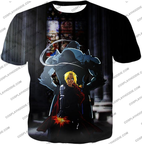 Image of Fullmetal Alchemist Always Together Brothers Edward X Alphonse Super Cool Anime Pose T-Shirt Fa027 /