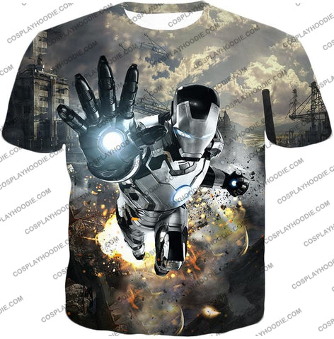 Image of Super Cool Black And White Iron Man Action T-Shirt Im027 / Us Xxs (Asian Xs)