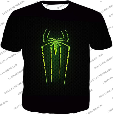Image of Cool Green Spiderman Logo Promo Black T-Shirt Sp027 / Us Xxs (Asian Xs)