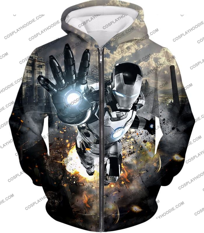 Super Cool Black And White Iron Man Action T-Shirt Im027 Zip Up Hoodie / Us Xxs (Asian Xs)