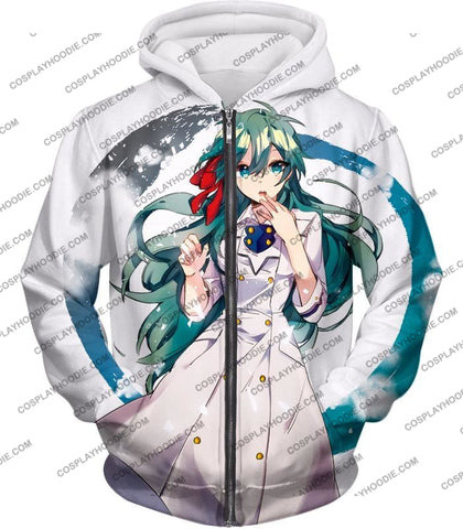 Image of My Hero Academia Cute Blue Haired Anime Girl Super Cool White T-Shirt Mha077 Zip Up Hoodie / Us Xxs