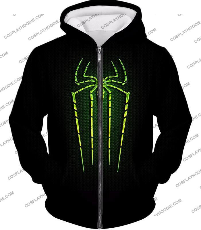 Cool Green Spiderman Logo Promo Black T-Shirt Sp027 Zip Up Hoodie / Us Xxs (Asian Xs)