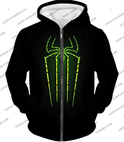 Image of Cool Green Spiderman Logo Promo Black T-Shirt Sp027 Zip Up Hoodie / Us Xxs (Asian Xs)