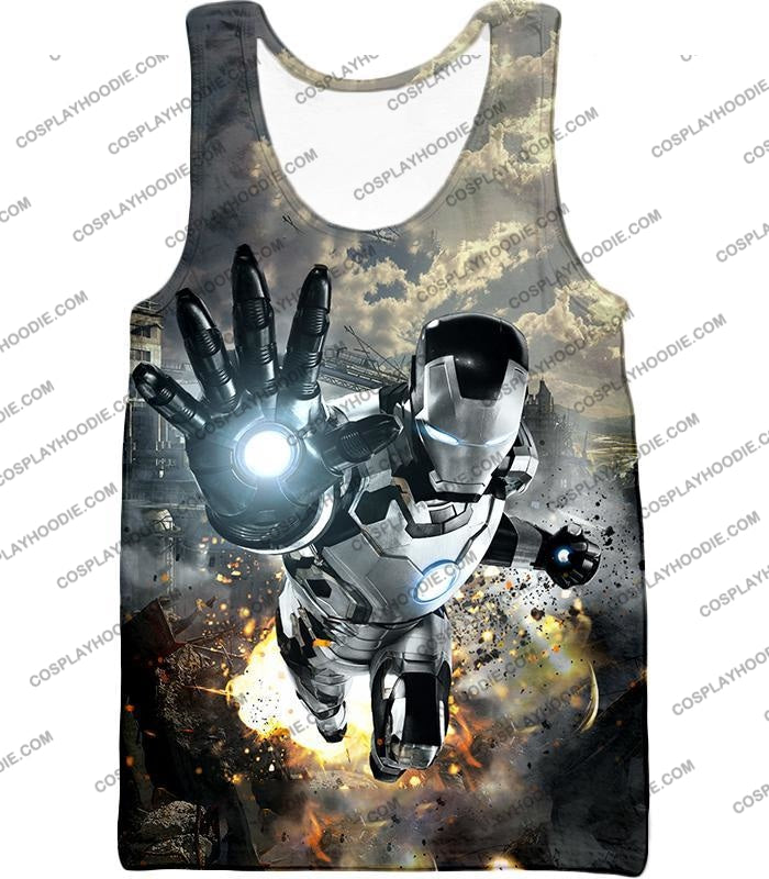 Super Cool Black And White Iron Man Action T-Shirt Im027 Tank Top / Us Xxs (Asian Xs)