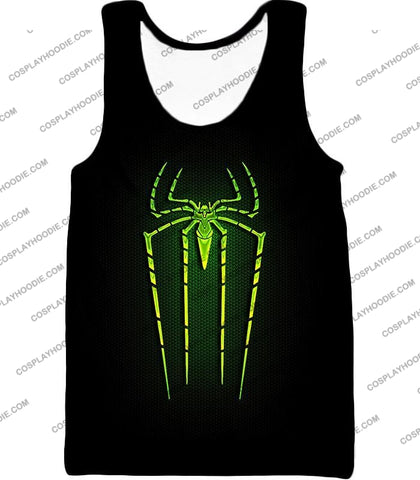 Image of Cool Green Spiderman Logo Promo Black T-Shirt Sp027 Tank Top / Us Xxs (Asian Xs)