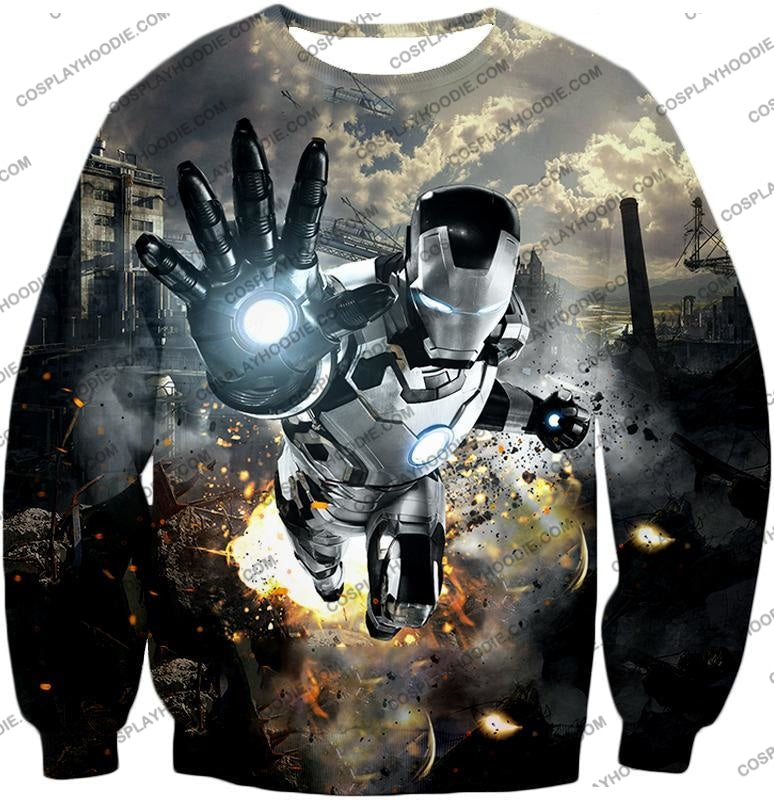 Super Cool Black And White Iron Man Action T-Shirt Im027 Sweatshirt / Us Xxs (Asian Xs)