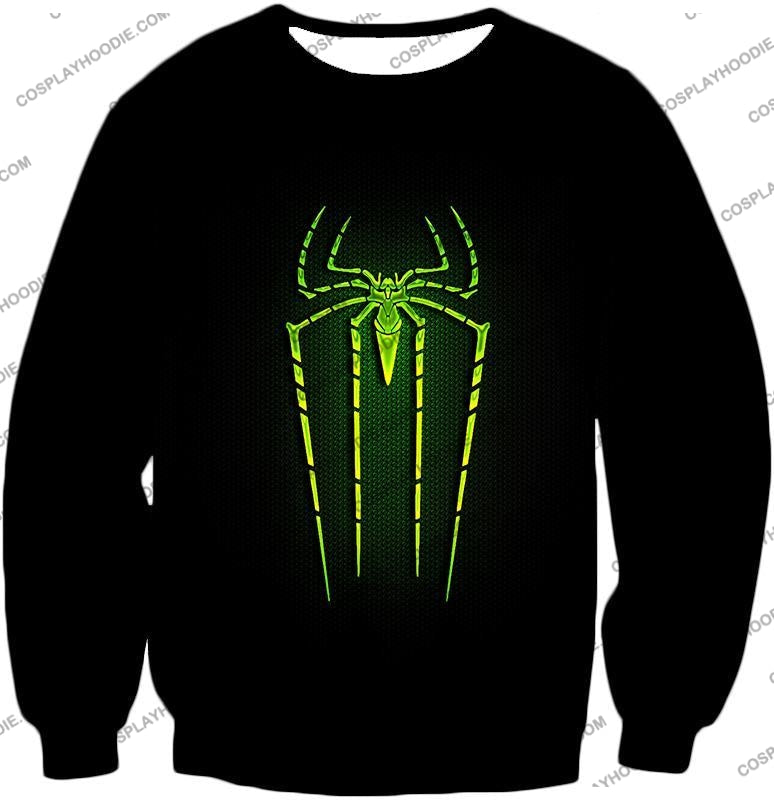 Cool Green Spiderman Logo Promo Black T-Shirt Sp027 Sweatshirt / Us Xxs (Asian Xs)