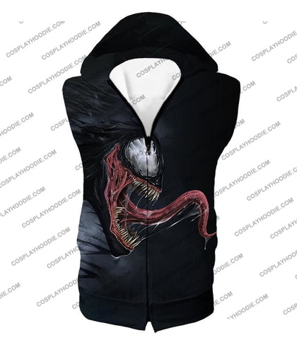 Alien Symbiotic Life Form Venom Black T-Shirt Ve027 Hooded Tank Top / Us Xxs (Asian Xs)