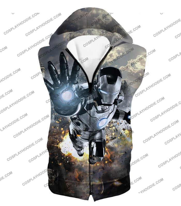 Super Cool Black And White Iron Man Action T-Shirt Im027 Hooded Tank Top / Us Xxs (Asian Xs)