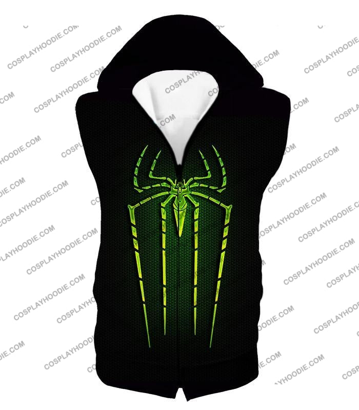 Cool Green Spiderman Logo Promo Black T-Shirt Sp027 Hooded Tank Top / Us Xxs (Asian Xs)