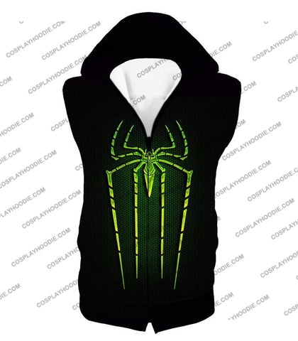 Image of Cool Green Spiderman Logo Promo Black T-Shirt Sp027 Hooded Tank Top / Us Xxs (Asian Xs)