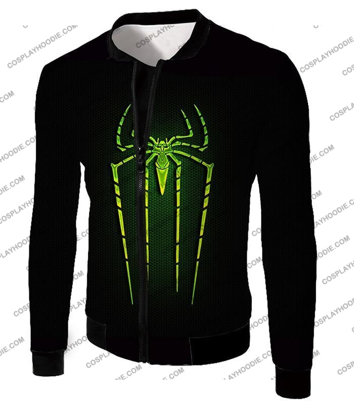 Cool Green Spiderman Logo Promo Black T-Shirt Sp027 Jacket / Us Xxs (Asian Xs)