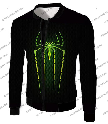 Image of Cool Green Spiderman Logo Promo Black T-Shirt Sp027 Jacket / Us Xxs (Asian Xs)