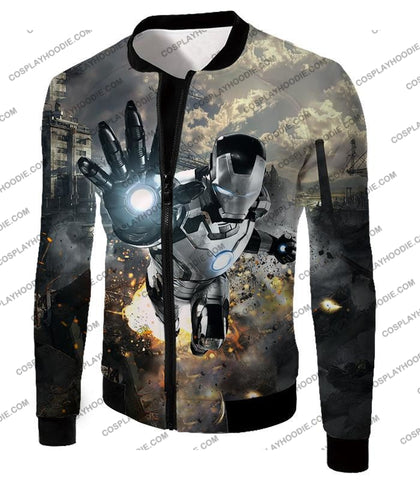 Image of Super Cool Black And White Iron Man Action T-Shirt Im027 Jacket / Us Xxs (Asian Xs)
