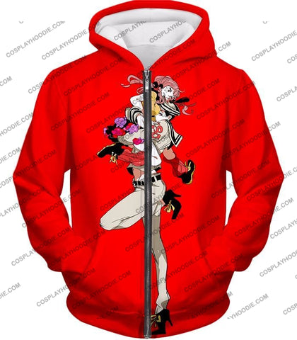 Image of Jojolion C Josuke Higashikata X Yasuho Hirose Red Anime T-Shirt Jo028 Zip Up Hoodie / Us Xxs (Asian