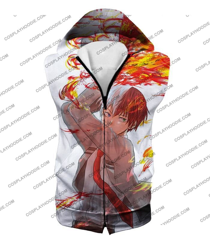 My Hero Academia Ultimate Promo Shoto Todoroki Cool Action White T-Shirt Mha078 Hooded Tank Top / Us