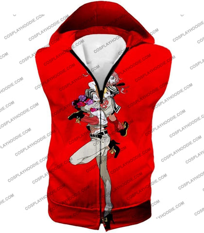 Image of Jojolion C Josuke Higashikata X Yasuho Hirose Red Anime T-Shirt Jo028 Hooded Tank Top / Us Xxs