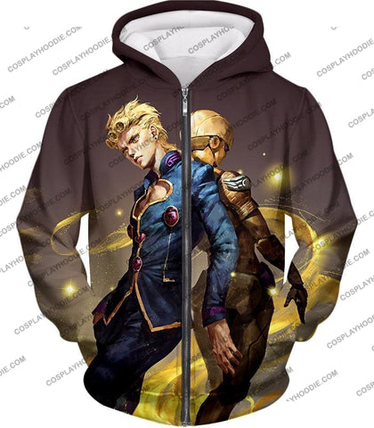 Image of Jojos Adventure Vento Aureo C Giorno Giovanna X Gold Experience Graphic T-Shirt Jo029 Zip Up Hoodie
