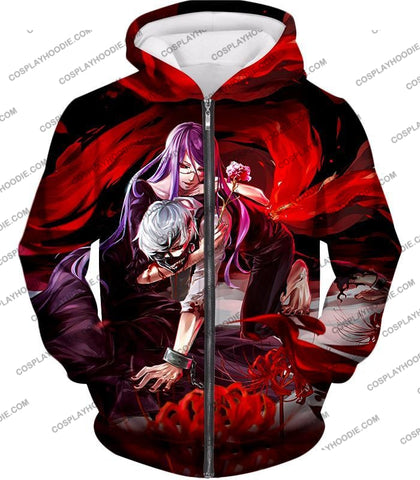 Image of Tokyo Ghoul Two Souls Rize And Kaneki Amazing Anime Graphic T-Shirt Tg079 Zip Up Hoodie / Us Xxs