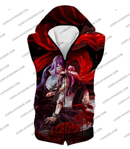 Image of Tokyo Ghoul Two Souls Rize And Kaneki Amazing Anime Graphic T-Shirt Tg079 Hooded Tank Top / Us Xxs