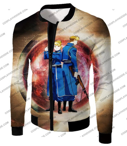 Image of Fullmetal Alchemist Super Cool Military Personnel Riza Hawkeye X Jean Havoc Awesome Anime T-Shirt