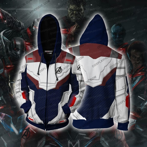 Image of The Avengers 4 Avengers: Endgame Quantum Suits Blue Suit Cosplay Hoodie Jacket Zip Up / Us Xs (Asian