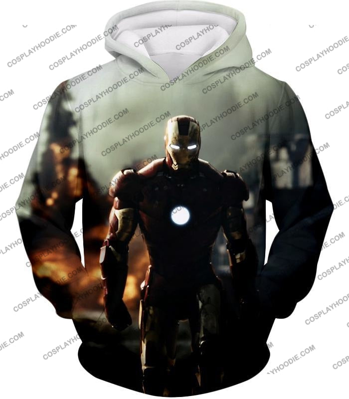 Best Avenger Iron Man Hd Action Print T-Shirt Im003 Hoodie / Us Xxs (Asian Xs)