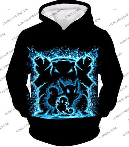 Image of Pokemon Blastoise Evolution Water Art Black Anime T-Shirt Pkm153 Hoodie / Us Xxs (Asian Xs)