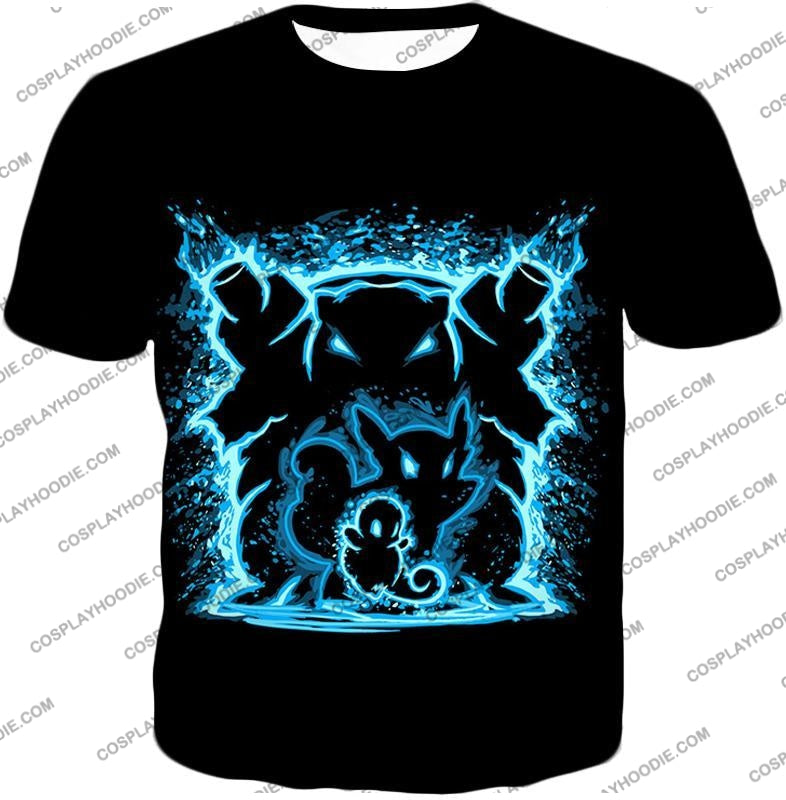 Pokemon Blastoise Evolution Water Art Black Anime T-Shirt Pkm153 / Us Xxs (Asian Xs)