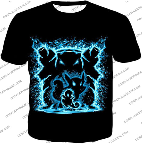 Image of Pokemon Blastoise Evolution Water Art Black Anime T-Shirt Pkm153 / Us Xxs (Asian Xs)