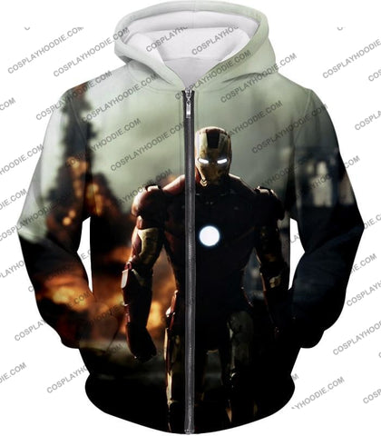 Image of Best Avenger Iron Man Hd Action Print T-Shirt Im003 Zip Up Hoodie / Us Xxs (Asian Xs)