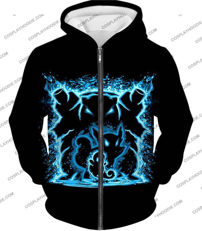 Pokemon Blastoise Evolution Water Art Black Anime T-Shirt Pkm153 Zip Up Hoodie / Us Xxs (Asian Xs)