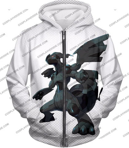 Image of Pokemon Awesome Legendary Zekrom Black And White Series T-Shirt Pkm003 Zip Up Hoodie / Us Xxs (Asian