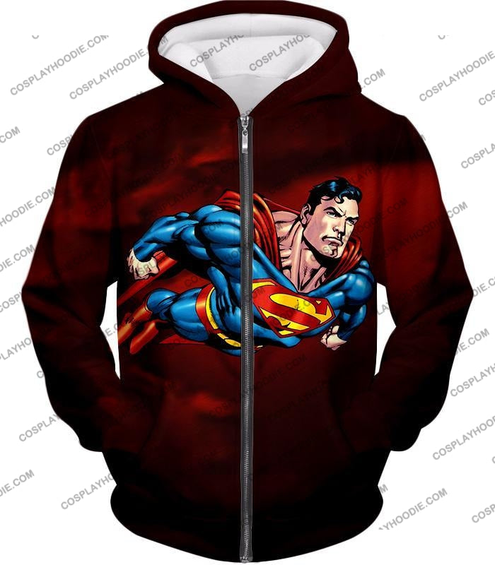 Faster Than A Missile Ultimate Superhero Superman Animated Action T-Shirt Su003 Zip Up Hoodie / Us