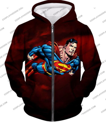 Image of Faster Than A Missile Ultimate Superhero Superman Animated Action T-Shirt Su003 Zip Up Hoodie / Us