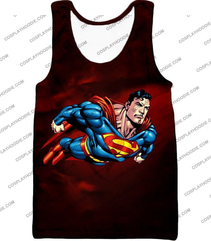 Image of Faster Than A Missile Ultimate Superhero Superman Animated Action T-Shirt Su003 Tank Top / Us Xxs
