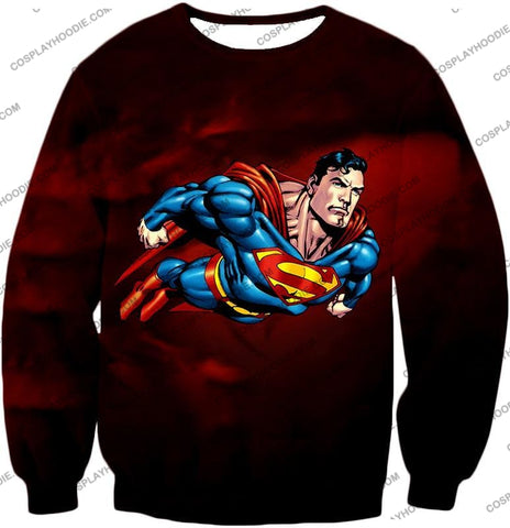 Image of Faster Than A Missile Ultimate Superhero Superman Animated Action T-Shirt Su003 Sweatshirt / Us Xxs