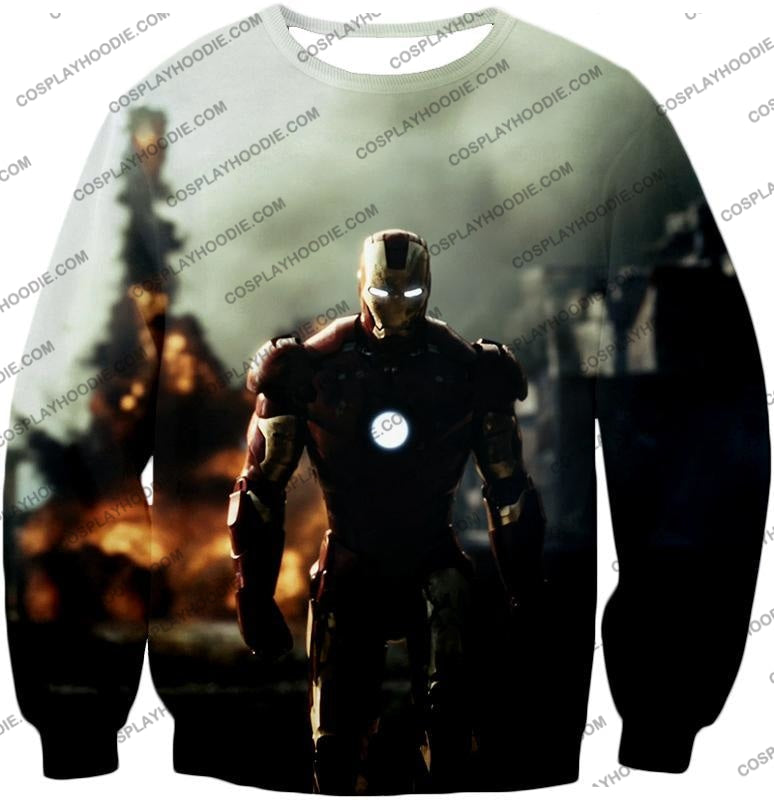 Best Avenger Iron Man Hd Action Print T-Shirt Im003 Sweatshirt / Us Xxs (Asian Xs)