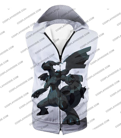 Image of Pokemon Awesome Legendary Zekrom Black And White Series T-Shirt Pkm003 Hooded Tank Top / Us Xxs