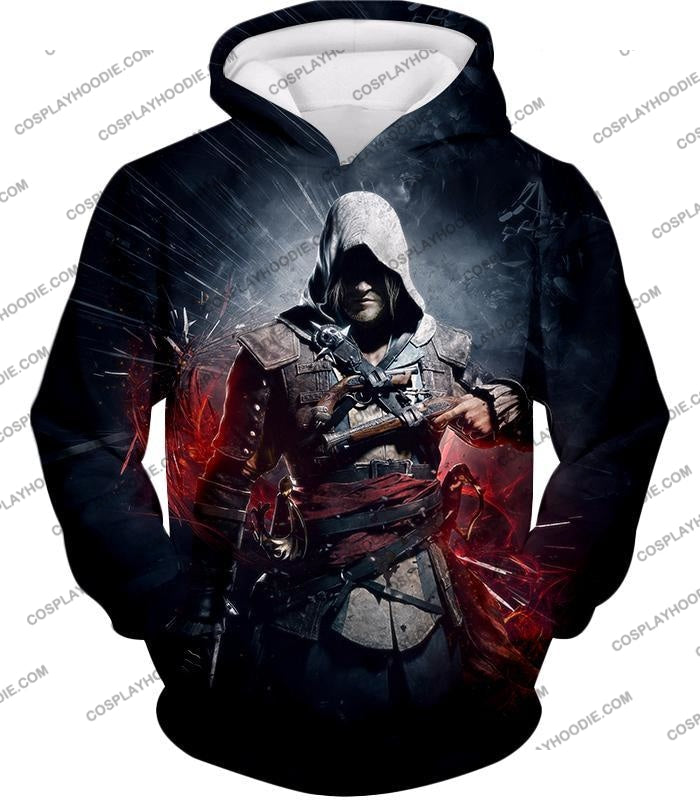 Edward James Kenway Incredible Black Flag Assassin Promo T-Shirt Ac030 Hoodie / Us Xxs (Asian Xs)