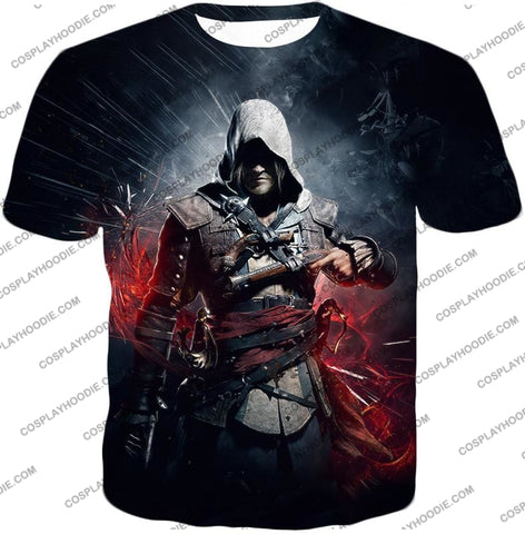 Image of Edward James Kenway Incredible Black Flag Assassin Promo T-Shirt Ac030 / Us Xxs (Asian Xs)